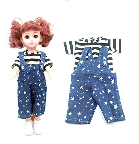 EatingBiting(R) Doll Striped Vest with Stars Rompers for 18