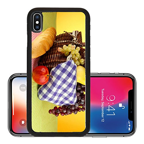 Liili Premium Apple iPhone X Aluminum Backplate Bumper Snap Case IMAGE ID: 18966272 Picnic basket with fruits on cloth on yellow background