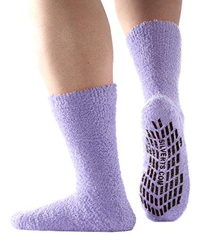 Non Skid/Anti Slip Grip Socks For Women/Mens Non Slip Grip Socks - Hospital - Lavender X-Large