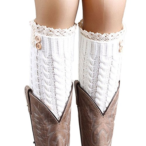Amazon.com: BCDshop Women 1 Pair Acrylic Knit Leg Warmer Women Winter Warm Soft Top Lace Twist Boot Socks(C): Health & Personal Care