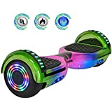 """NHT 6.5"""" inch Aurora Hoverboard Self Balancing Scooter with Colorful LED Wheels and Lights- UL2272 Certified Carbon Fiber Style Available (Rainbow) (Rainbow-Green)"""