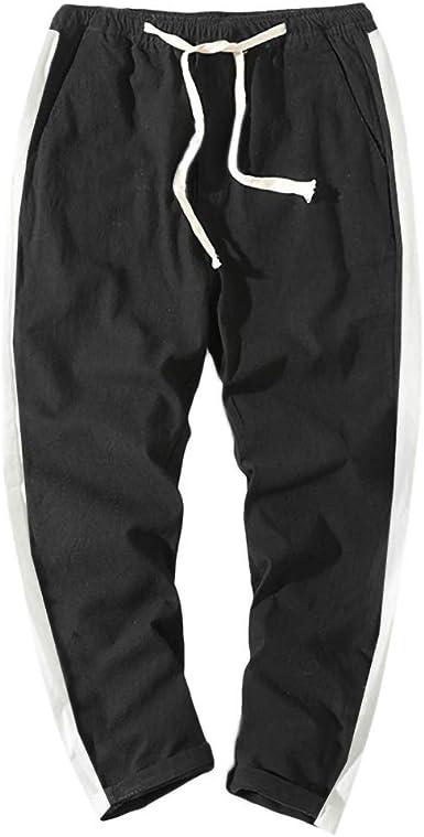 ZOELOVE Pantalones chandals Hombre Chino Deporte Joggers Pants Cintura elástica con cordón Pantalones Casuales Algodón y Lino Pantalones Talla Grande: Amazon.es: Ropa y accesorios