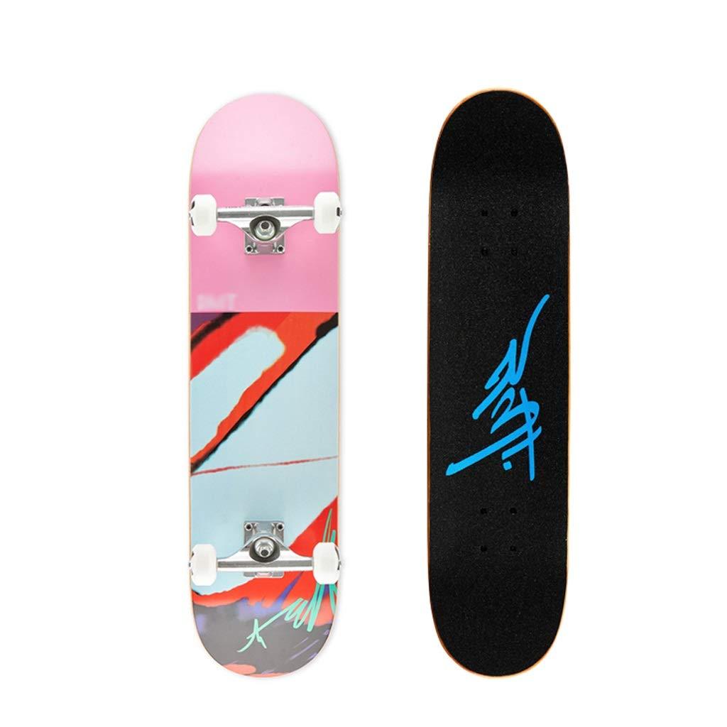 HXGL-スケートボード 完全なスケートボードブラシストリートメープルデッキクルーズキャプテンボードティーンギフトプロフェッショナル四輪スケートボード - カラーシリーズ ピンク