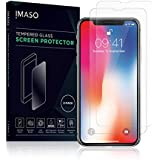 NEW IMPROVED iPhone X tempered glass screen protector by iMASO, ballistic 9H glass hardness, ultra thin, crystal HD clarity, water repelling and anti finger print [2 pack]
