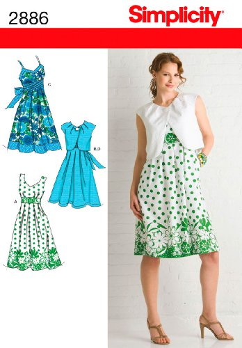 Simplicity Pattern 2886 Dress with Bodice Variations and Bolero Size 14-16-18-20-22