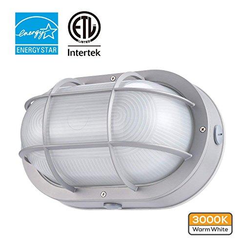 Round Lighting Large Aluminum Bulkhead (LEONLITE LED Bulkhead Light, 10W (60W Equivalent), Energy Star, 3000K Warm White Outdoor Wall Light, 5 Years Warranty)