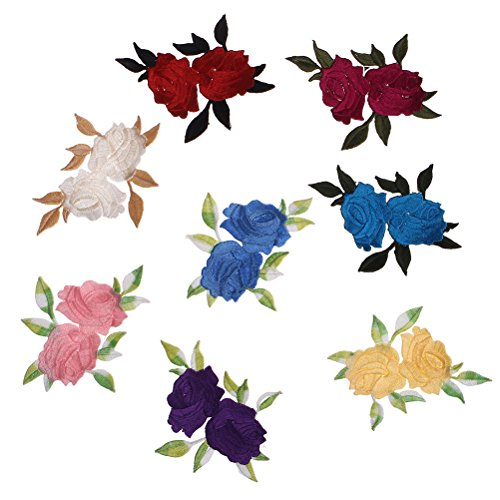 37YIMU 8 Pieces Double Rose flower Applique Embroidered Iron on Patches