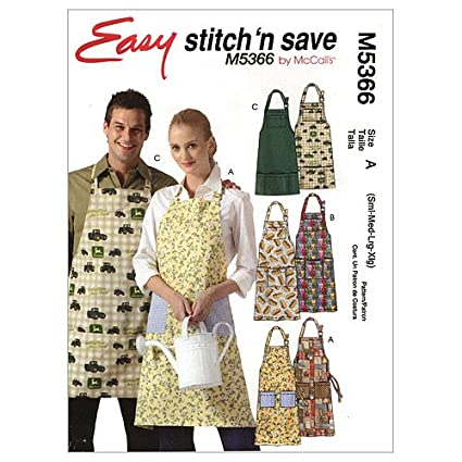 Amazon.com: McCall\'s Patterns M5366 Misses\'/Men\'s Aprons, Size A ...