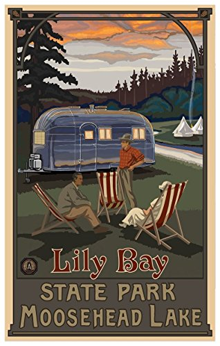 Lily Bay State Park Maine Airstream Trailer Travel Art Print Poster by Paul A. Lanquist (12