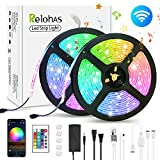 LED Strip Lights - Smart WiFi LED Strip Lights 32.8ft Wireless APP Control Waterproof RGB Color Changing LED Light Strip Sync with Music 5050 LED Lights Work with Alexa, Google Assistant for Home
