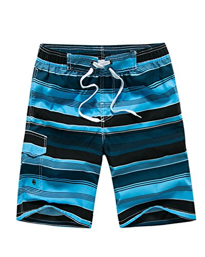 Men's Striped Hybrid Boardshorts Stretch Surf Beach Shorts Quick Dry Swim Trunks Blue 32 ()