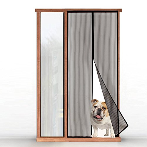 Magnetic screen door hands free mesh curtain with full for Fly curtains for french doors