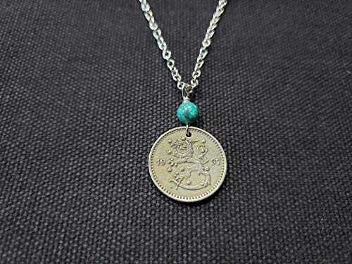 CoinageArt Finland Coin Necklace Dated 1997 With Lion And Sword Image Lion Necklace 1 Markka With Turquoise Gemstone on Brilliant Adjustable Chain 977