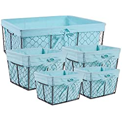 DII Home Traditions Vintage Metal Chicken Wire Storage Basket with Removable Fabric Liner, Set of 5 Mixed Nesting Sizes, Aqua