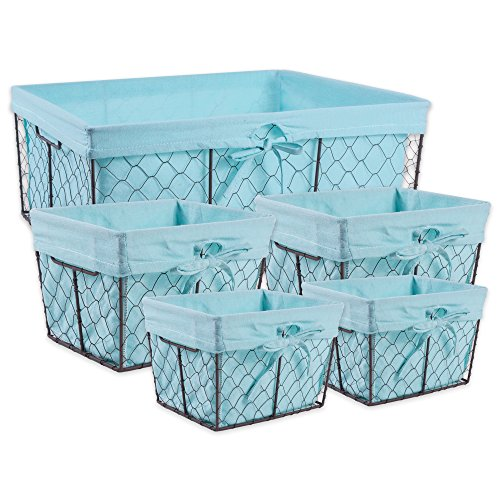 DII Vintage Chicken Wire Basket Removable Fabric Liner, Set of 5, - Home Fabric Decor Aqua