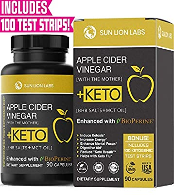 Apple Cider Vinegar Capsules with Mother + Keto Diet Pills, BHB Salts with MCT Oil, Includes 100 Ketone Test Strips, Exogenous Ketones for Instant Keto, Use Fat for Energy, Boost Metabolism Men, Women