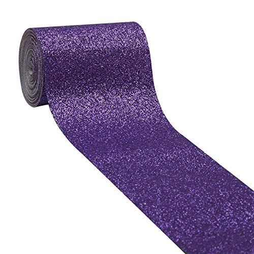 2Yards/Roll 3''(75Mm) Glitter Shiny Leather Ribbon Leather Fabric Ribbon DIY Hairbows Accessories Materials Gift Package,Purple