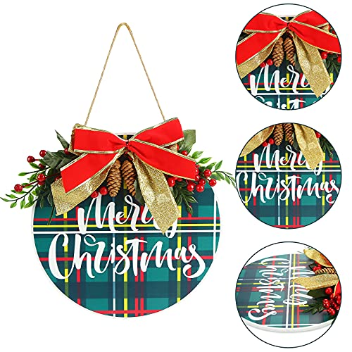 JOHOUSE 13inch Christmas Welcome Hello Door Sign,Round Wood Sign Hanging Welcome Sign Welcome Sign for Front Door for Christmas Decorations Holiday Welcome Home Decorations