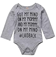 Newborn Baby GOT My Mind ON My Mommy Funny Bodysuits Rompers Outfits Blue