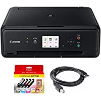 Canon PIXMA TS5020 Black Wireless Inkjet All-In-One Printer with Genuine Canon Ink Bundle Includes PGI-270/CLI-271 + Printer Cable