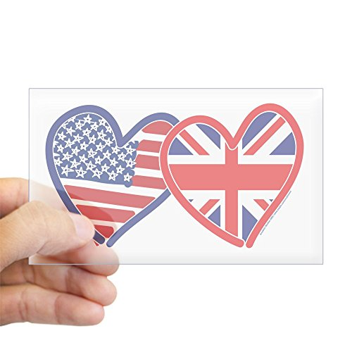 CafePress American Flag/Union Jack Hear Rectangle Bumper Sticker Car Decal ()
