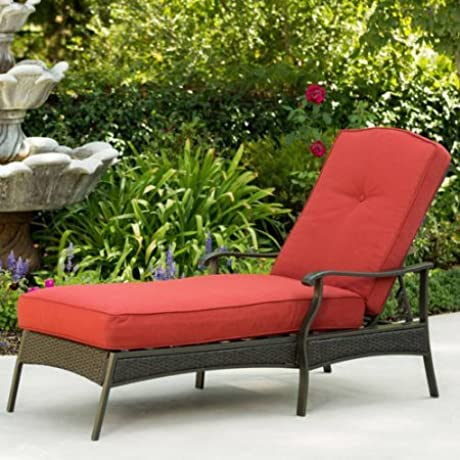Wicker Chaise Lounge With Powder Coated Steel Frame Adjustable Back For Added Comfort Wicker 7mm Flat Cashmere Supports Up To 250lbs UV Protected Cushions And Fabric Polyester Home Pool Furniture