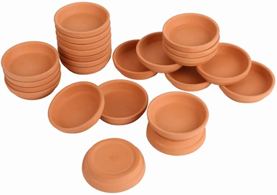 Bright starl 24pcs Terra Cotta Saucer, 3.2-inch Small Mini Clay Pots Tray, Suitable for 3inch, 2.5inch, 2inch Succulents Nursery Pots