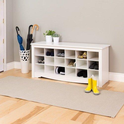 White Oversized Floor Entryway Shoe Storage Organizer Wood Bench Furniture by Winslow (Image #1)