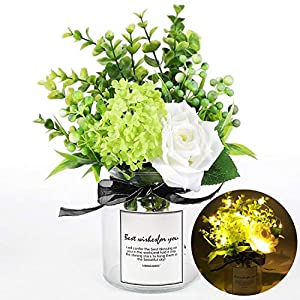 HEJIAYI Artificial Flowers with Vase for Home Decor,Fakes Flowers Bouquets with Vase,Table Flowers Centerpieces with Vase,Artificial Rose Flowers Decoration for Table Home Wedding with Light String 49