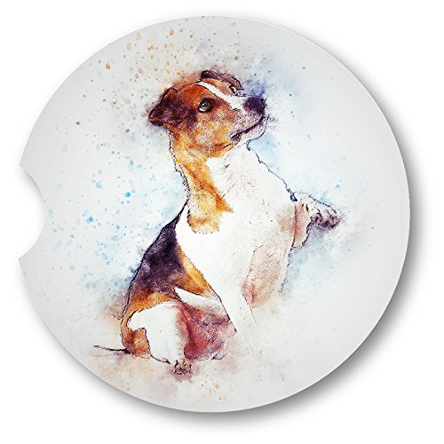 Watercolor Style Jack Russell Terrier Sandstone Car Coasters - Set of 2