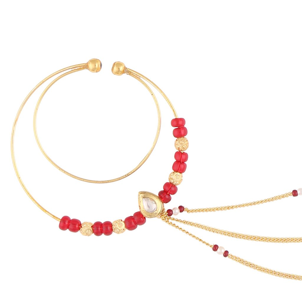Sri Shringarr Womens Gold Finish With Polki Beads Big Nose Ring