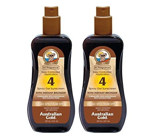 Australian Gold SPF 4 Sunscreen Spray Gel with Instant Bronzer, 8 Ounce (2 Pack) (SPF 4) (Best Tanning Lotion Australia)