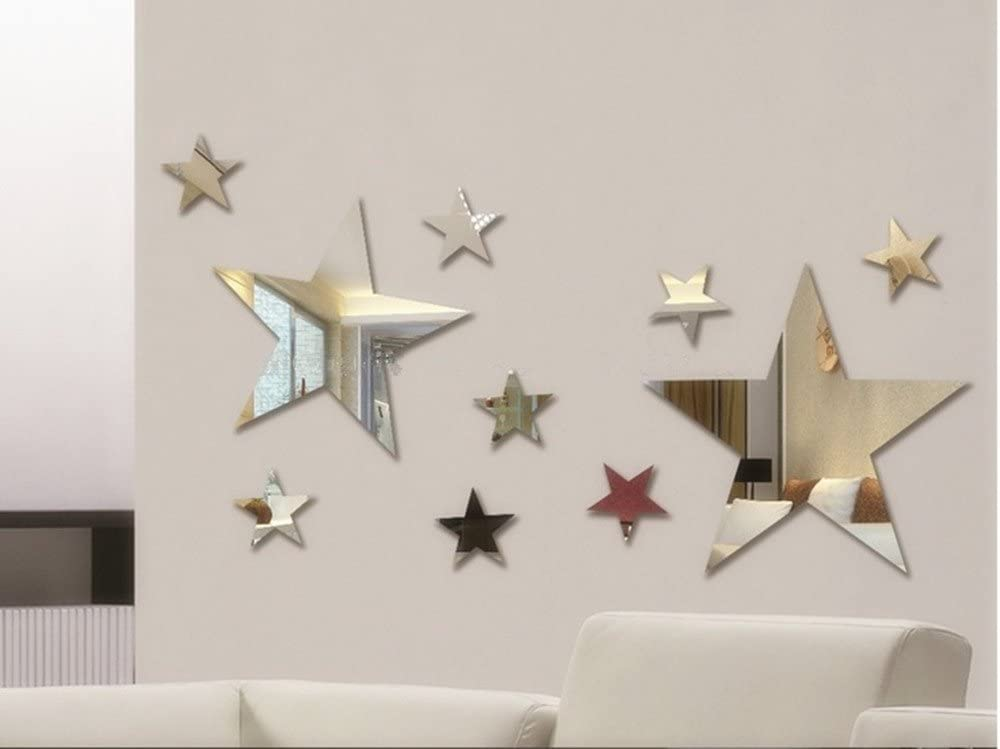 Set of 10pcs Creative Five Stars Wall Mirror Sticker for Kids Child `s Bedroom Home Deco, 3D DIY Crystal Wall Decal Murals