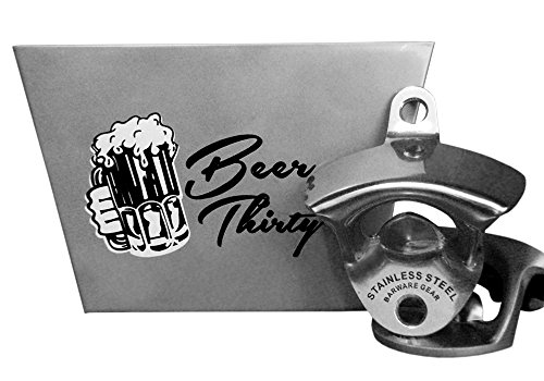 Barware Gear Bottle Opener & Catcher Bundle: Stainless Steel Wall Mount Bottle Opener with Stainless Steel Beer Thirty Wall Mounted Cap Catcher. Free Mounting Screws. Bar Accessory or Kitchen ()
