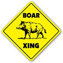 [SignJoker] BOAR CROSSING Sign xing gift novelty pig hog wild hunter hunt tusk trap kill Wall Plaque Decoration