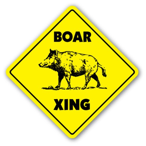 [SignJoker] BOAR CROSSING Sign xing gift novelty pig hog wild hunter hunt tusk trap kill Wall Plaque Decoration