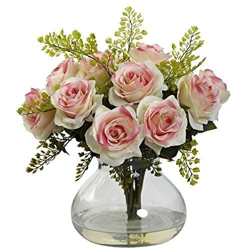 Nearly Natural 1366-LP Rose and Maiden Hair Arrangement with Vase, Light Pink