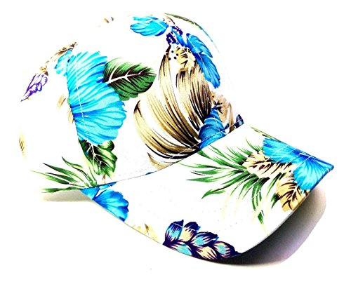 Crown Floral Print Sublimated Dad Hat (White & Blue (Hibiscus Flower Print)