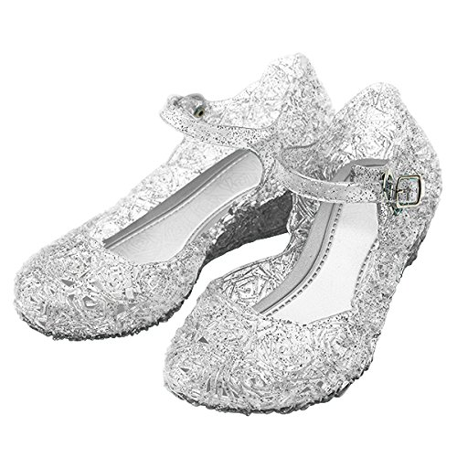 [Girls Princess Elsa Shoes For Halloween Costumes (Silver) Kids Size 13] (Dance Costumes For Pageants)