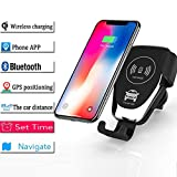 Wireless Car Charger, Qi Certified with GPS Positioning, Automatic Clamping Air Vent Cell Phone Holder Mount Fast Charging, Compatible iPhone X/Xs Max/Xs/XR/8/8 Plus, Samsung Galaxy Not (Black)