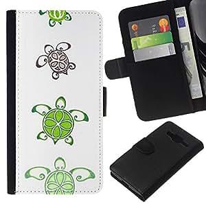 All Phone Most Case / Oferta Especial Cáscara Funda de cuero Monedero Cubierta de proteccion Caso / Wallet Case for Samsung Galaxy Core Prime // Lime Pattern Cute White Art Animal