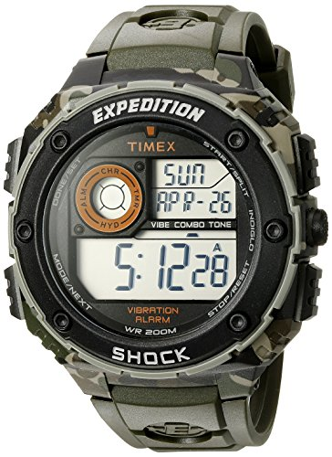 Timex Men's T49981 Expedition Vibe Shock Green Camo Resin Watch (Watches Atomic Timex)