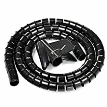 uxcell® 20mm Flexible Spiral Tube Cable Wire Wrap Computer Manage Cord Black 5M w Clip