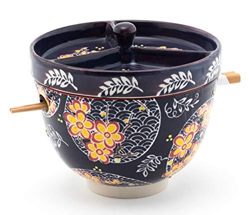 Happy Sales HSRB-BCLBY1, Multi Purpose Japanese Design Ceramic Ramen Udong Soba Tempura Noodle Pho Donburi Rice Tayo Bowl with Chopsticks and Condiment Lid 6