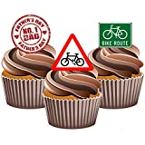 Fathers Day Cycling Road Sign Cake Decorations - Edible Stand-up Cup Cake Toppers by AKGifts