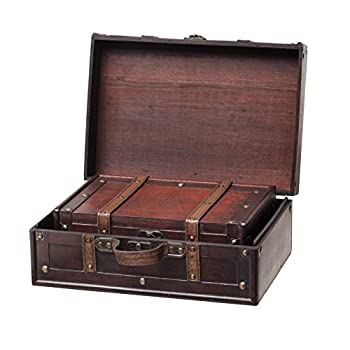 SLPR Decorative Suitcase with Straps (Set of 2, Brown) | Old-Fashioned Antique Vintage Style Nesting Trunks for Shelf Home Decor Birthday Parties Wedding Decoration Displays Crafts Photoshoots