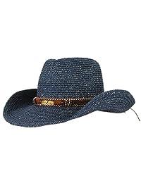 e79186b40f425 Gemvie Cowboy Hat Floppy Sun Hat Straw Summer Beach Cap Wide Brim Straw Hats  Navy