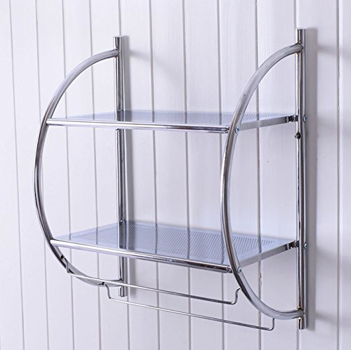 Wall Mounted Bathroom Towel Rack 2 Tier Plates And 2 Towel Bar Toilet Bathroom Storage Rack Shower Shelf Organizer Towel Holder Bar Chrome Plated Iron Anti-Corrosion (Wicker Hampers Walmart)