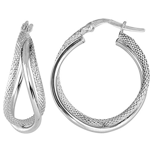 White Gold Double Hoop - 10k White Gold Double Hoop Earrings