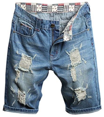 QZH.DUAO Men's Slim Straight Fit Distressed Ripped Holes Denim Jean Shorts, Blue, US 36 = Tag 38